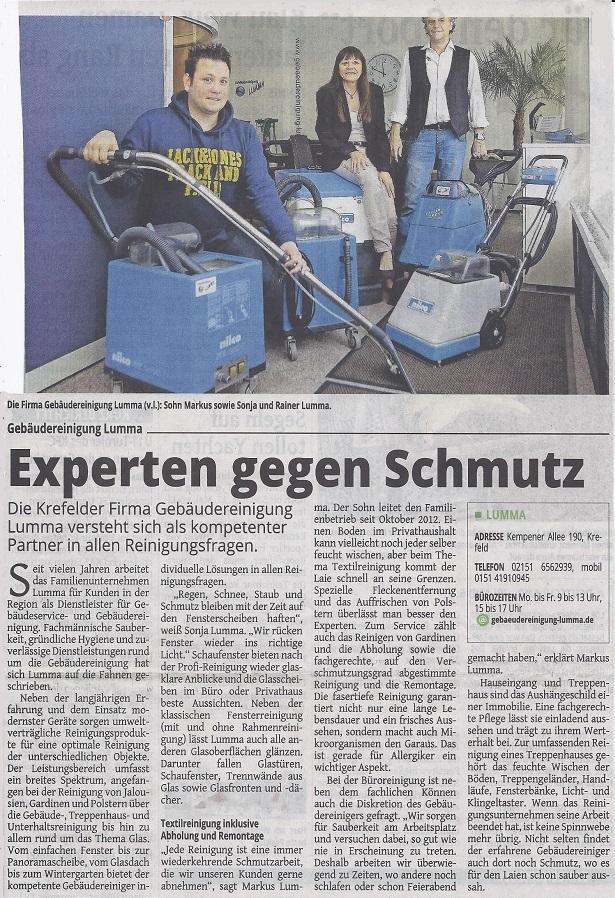 Gebäudereinigung Lumma Presse 13.05.2015